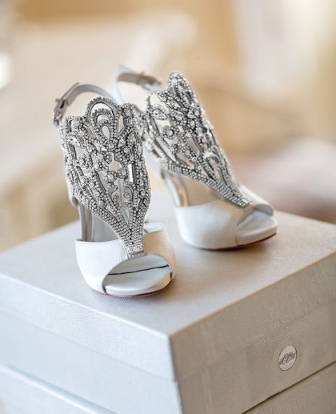 white shoes with heavily embellished tops in silver will make a statement