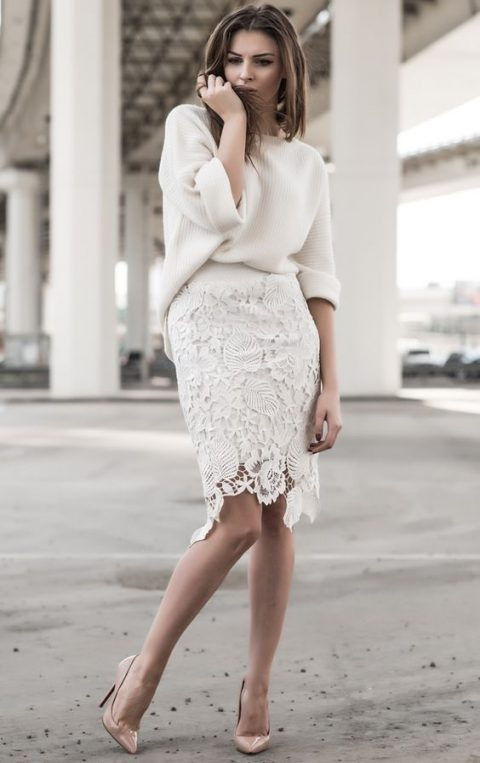a lace pencil knee skirt with a creamy chunky knit slouchy sweater