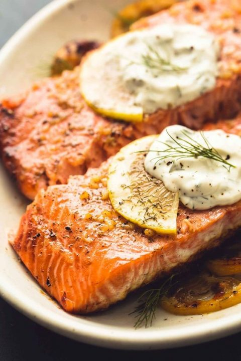 baked salmon with creamy lemon dill sauce