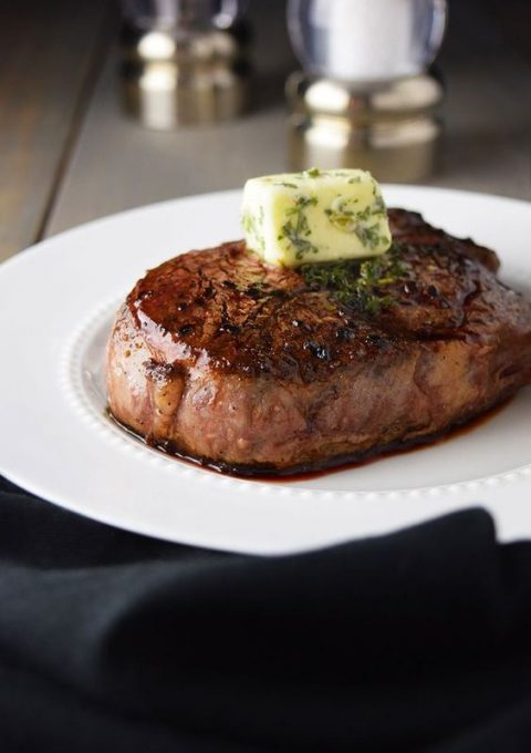pan-seared filet mignon with garlic and herb butter is classics