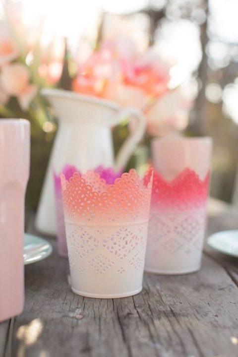 IKEA Skurar pots with an ombre effect for candle holders