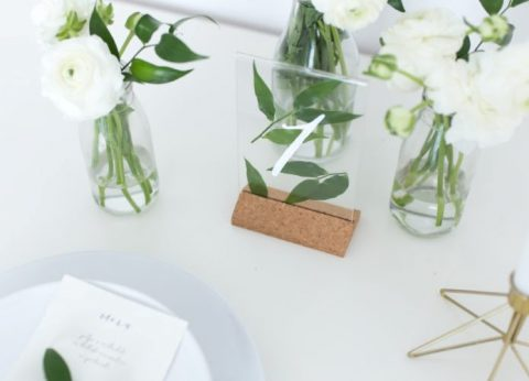 Ikea KARLSNAS frame is used to make a minimalist botanical table number for your wedding