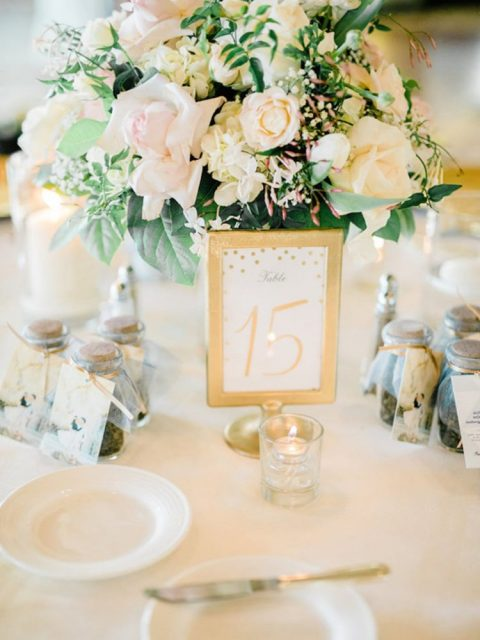 Tolsby frame used to make a glam gold table number with polka dots