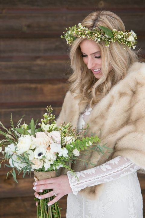a chic faux fur stole will finish off your bridal look and will keep you cozy