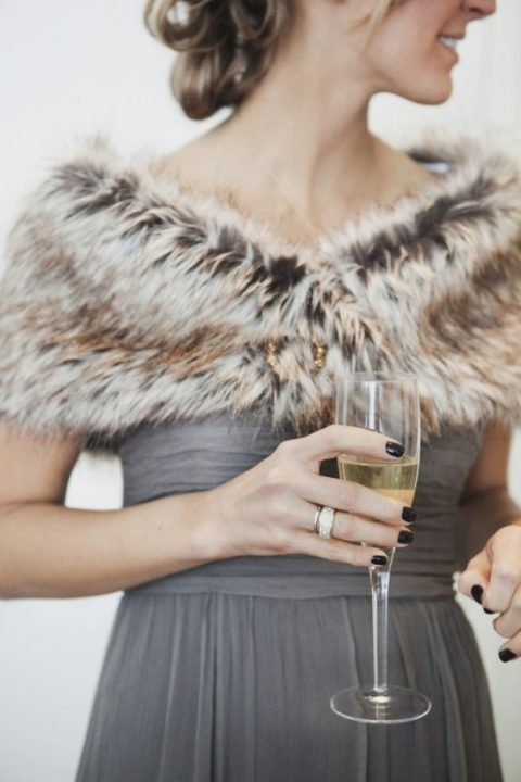 a faux fur coverup and a grey bridesmaid_s dress for a stylish look