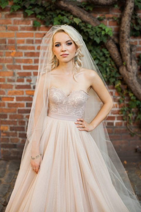 a gorgeous strapless sweeteheart neckline blush wedding dress with an embroidered bodice and a layered skirt