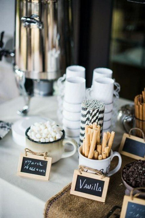 a hot chocolate bar is always a good idea for a cold wedding