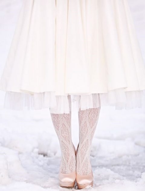 cozy and feminine tights for a winter bride