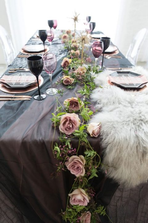 faux fur and a tender colorful tablecloth create a texture and a contrast