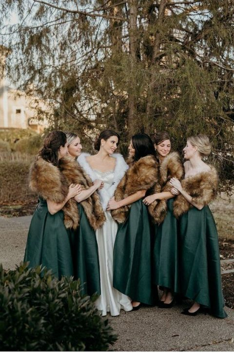 faux fur coverups and forest green dresses for an ultimate winter bridesmaid look