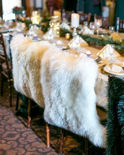 faux fur coverups are great to mark couple_s chairs