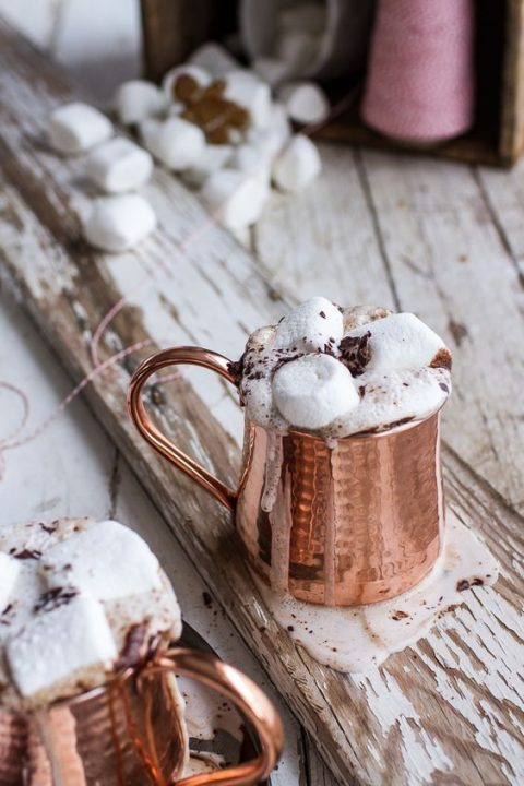 mule hot chocolate topped with marshmallows