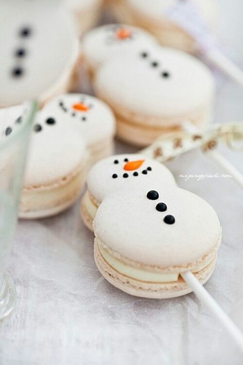 snowman macarons on skewers