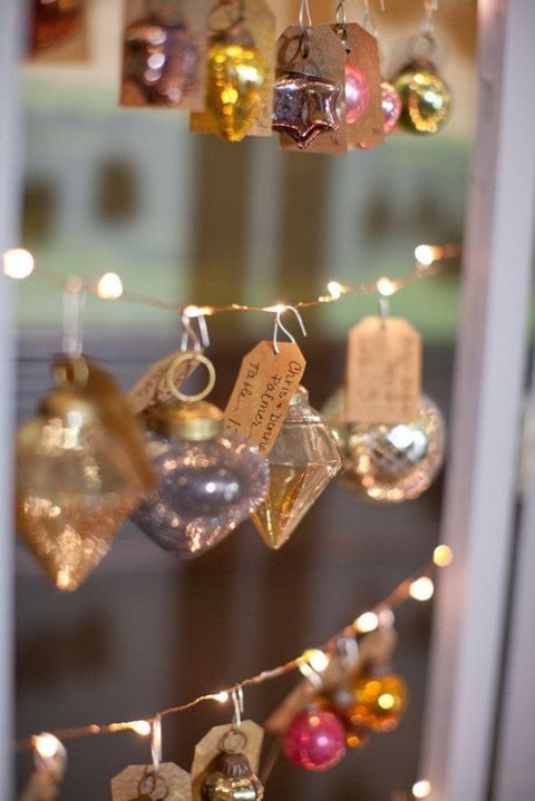 vintage ornaments with gift toppers are great for any holiday-like wedding