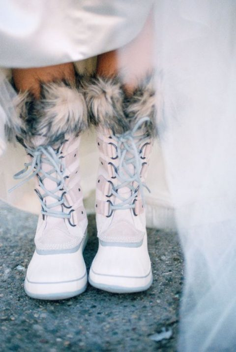 wear faux fur boots for outside shots and ceremony