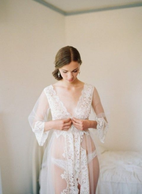 a beautiful nightgown with bell sleeves and lace trim