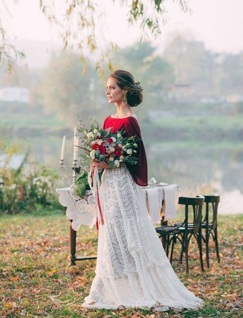 a chic bridal separate with a white lace A-line maxi skirt and a burgundy top with wide sleeves
