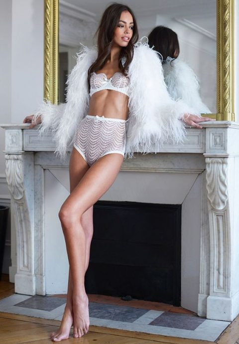 a glam bridal lingerie set with a bra and high waisted panties