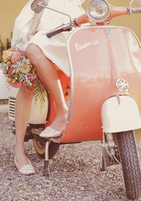 a vintage coral Vespa is a grorgeous piece to use for your wedding shots