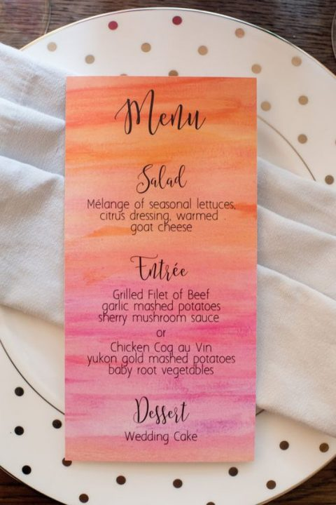 a watercolor coral to pink wedding menu is a cool colorful idea