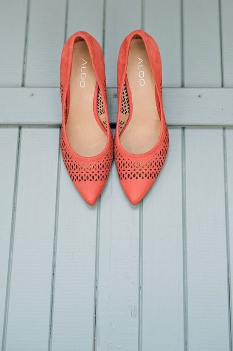 laser cut coral wedding shoes are a summer or spring wedding