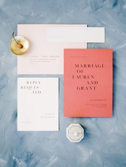 modern wedding stationery in blush and coral