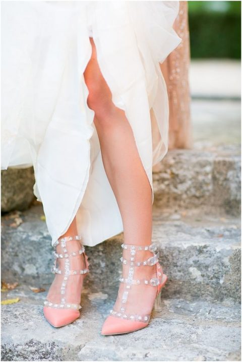 peachy spiked wedding heels