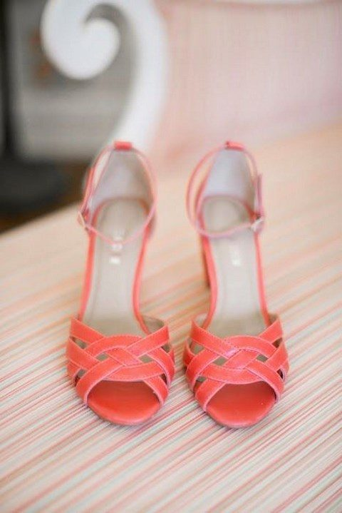 vintage-inspired coral woven wedding shoes with ankle straps