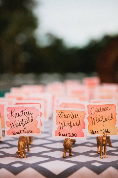watercolor coral and pink wedding escort cards