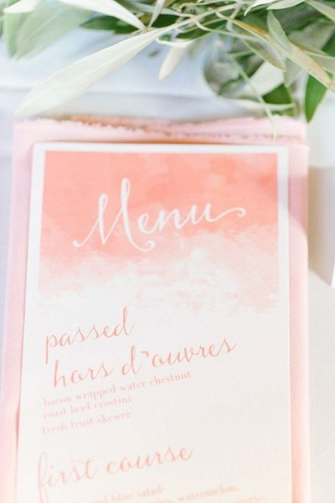 watercolor ombre coral wedding menu with calligraphy
