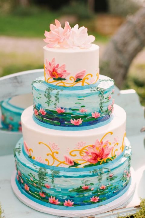 Monet_s inspired Water Lilies wedding cake
