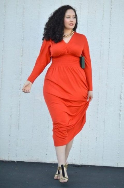 a fitting coral midi dress with long sleeves to rock the top color of the year, embellished shoes and a statement necklace