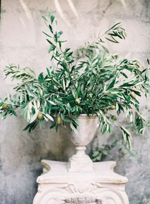 a vintage urn with olive branches can be a nice centerpiece or just decoration