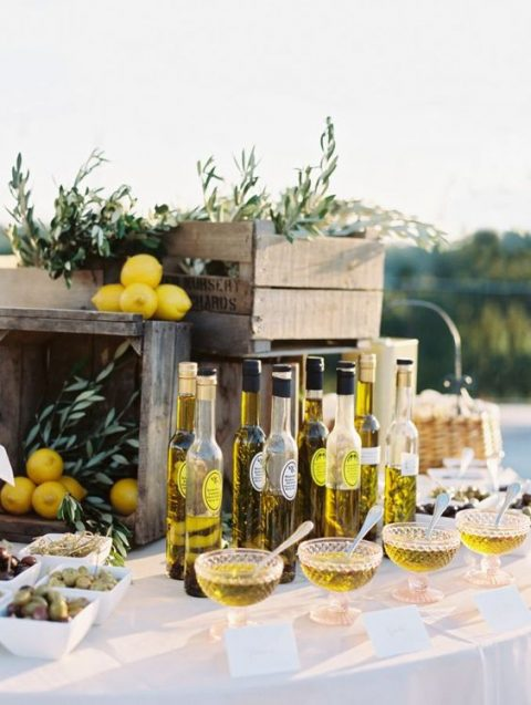 an olive oil bar is a great food station for a Mediterranean wedding