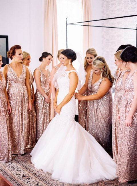 blush sequin V-neckline sheath bridesmaid dresses with draping
