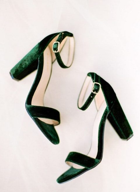 bold velvet emerald wedding shoes with ankle straps