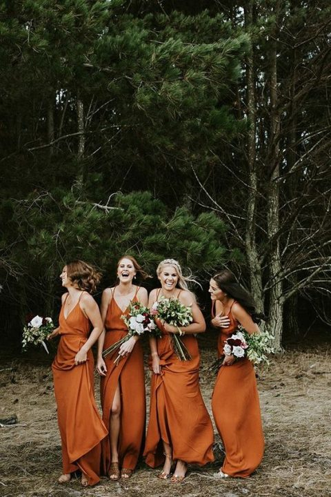 chic matching spaghetti strap maxi bridesmaid dresses