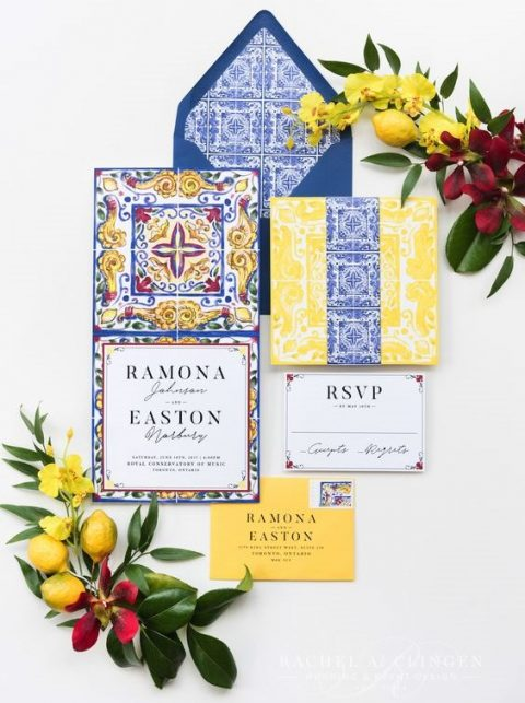 colorful wedding stationery in yellow, blue and white with traditional azulejo tile patterns