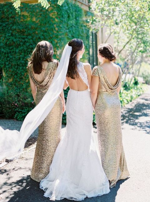 gold sequin bridesmaid dresses with cowl backs are a very elegant option