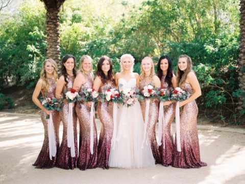 gorgeous halter neckline sheath ombre sequin bridesmaid dresses from rose gold to plum