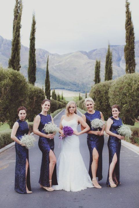 gorgeous navy sequin maxi sheath bridesmaid dresses with a geometric pattern and a side slit