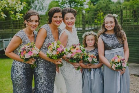 grey blue sequin sleeveless bridesmaid dresses with V-necklines