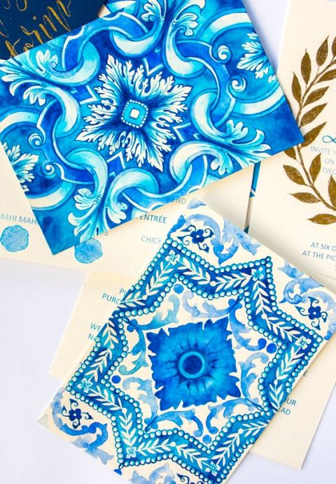 hand painted watercolor blue wedding invitations with traditional azulejo tile patterns