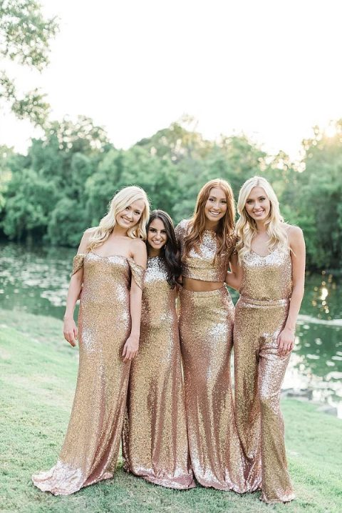 mimatching gold sequin bridesmaid outfits including a jumpsuit