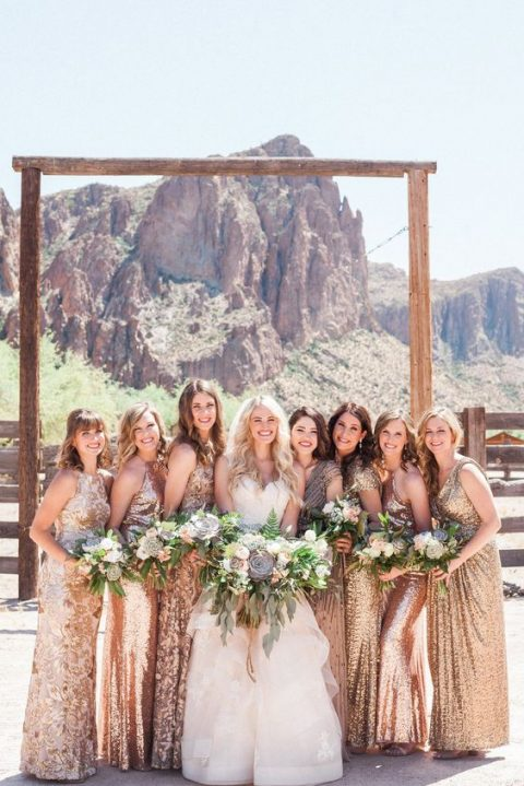 mismatched rose gold and gold sequin bridesmaid maxi dresses