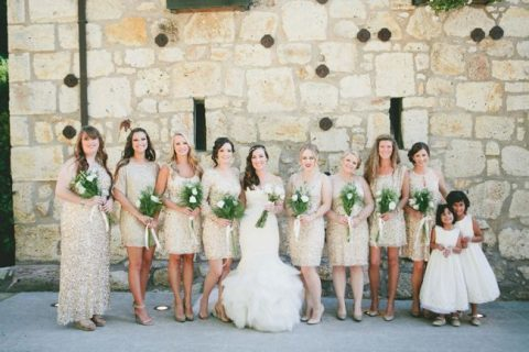 mismatched white sequin short bridesmaid dresses and a maxi sheath gown