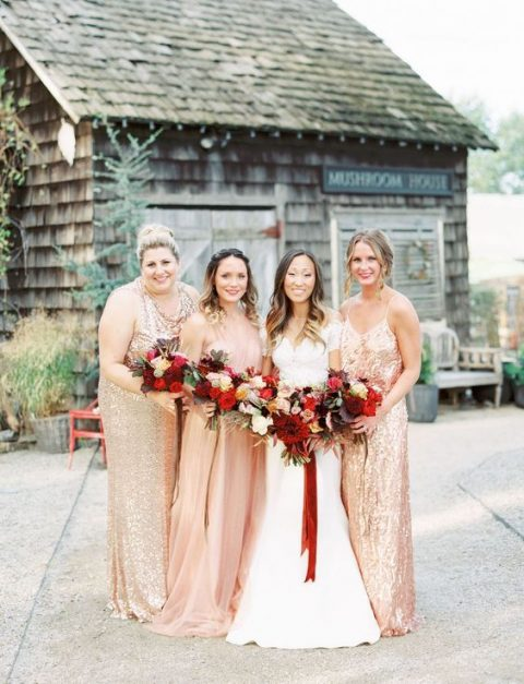 mismatching gold sequin bridesmaid gowns and a blush maxi dress for the maid of honor