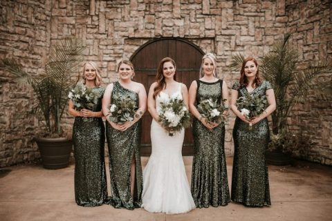 mismatching green sequin sheath bridesmaid dresses will make your gals stand out