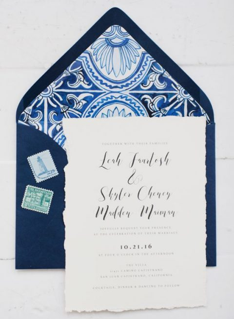 navy and white printed wedding stationery with a strong Mediterranean feel