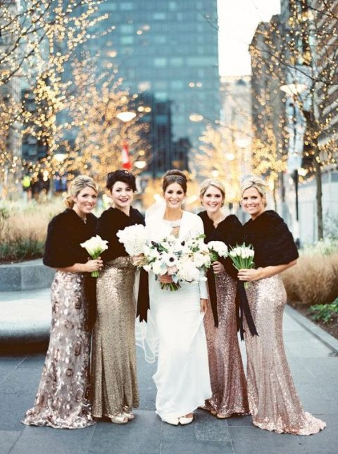 rose gold and gold sequin sheath maxi bridesmaid dresses and black faux fur stoles